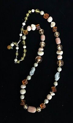 """Vintage Peach Glass & Mother of Pearl Necklace SIGNED JAPAN 24 1/2"""" M214"""