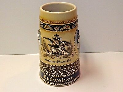 """Anheuser-Busch Budweiser Stein ~ Eagle in """"A"""" Logo & Clydesdale Horse Embossed"""