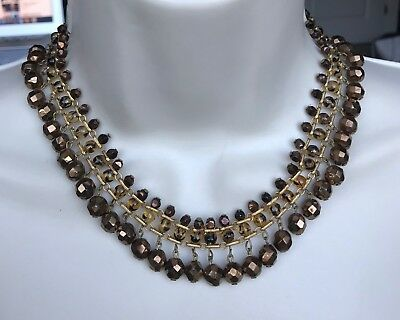 """Vintage Gold Tone Brown Glass Beaded Necklace 16 1/2"""" M214"""