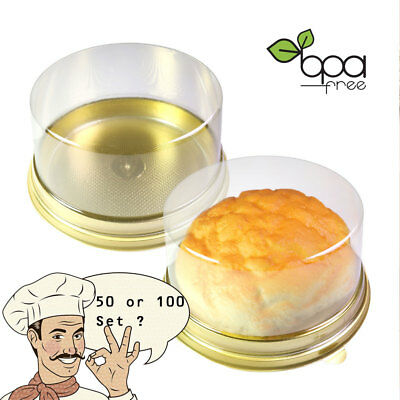 50/100 Gold Round Take Out Cake Donut Dessert Pastry Container w/ Clear Lid DD