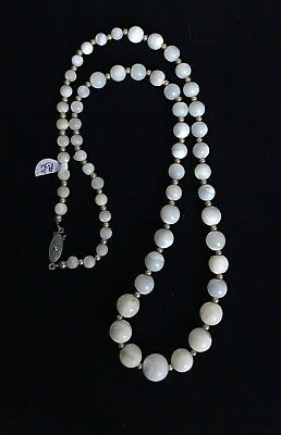 """Vintage Gold Tone Mother of Pearl Beaded Necklace 24"""" M214"""