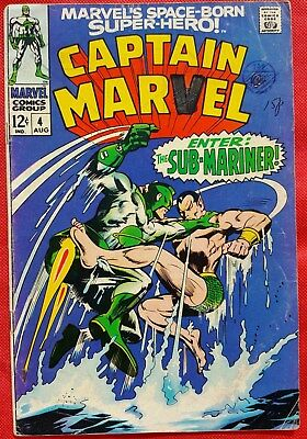 CAPTAIN MARVEL 4 Marvel Silver Age 1968 battles the Sub-Mariner