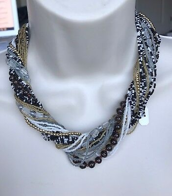 """Vintage Mixed Beads Multi Strand Glass Necklace 20"""" M214"""