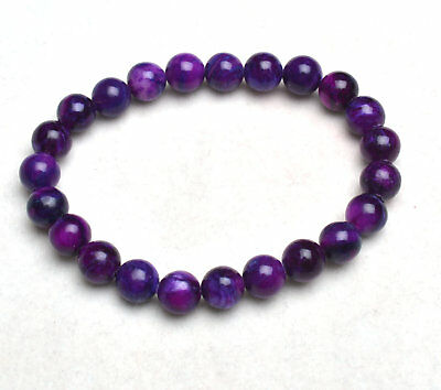 8mm Natural Purple Sugilite South Africa Gems Round Beads Bracelet AAA