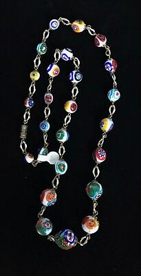 """Vintage Gold Tone Multi Color Murano Glass Beaded Necklace 27"""" M214"""