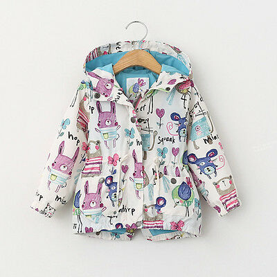 Kids Boys Girls Long Sleeve Cute Animals Print Jacket Coat Hooded Outerwear