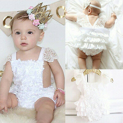 Girls Clothes Lace Floral Cake Bodysuit Romper Backless Sunsuit Outfits 0-18M