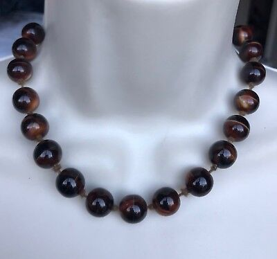 """Vintage Gold Tone Brown Marbled Glass Beaded Necklace 18 1/2"""" M214"""