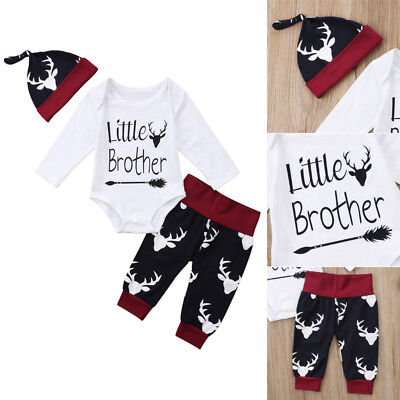 3PCS Little Brother Outfits Infant Baby Boy Romper Bodysuit Deer Pants Clothes