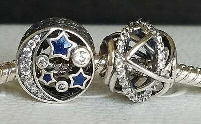 Lot of two pcs PANDORA Vintage Night Sky 791992CZ  Galaxy Charm 791388CZ