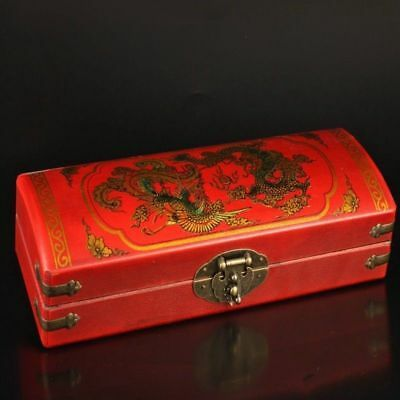 Collection Vintage Handmade Dragon Phoenix Red Leather Jewelry Box