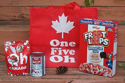 """Canadian Rarities Bag: M&M'S """"Oh-Canada"""" candy, Maple Syrup, Froot Loops Cereal"""