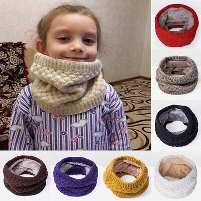 Unisex Winter Warm Knitted Circle Scarves Collar Cotton Plush Lining Scarf Xmas