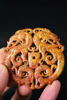 Exquisite Chinese old jade hand carved *dragon/Phoenix* lucky pendant   C87