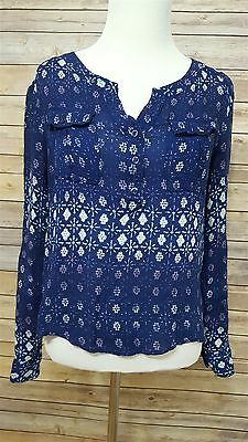 Urban Outfitters Ecote S Navy Sheer Blue Star/Snowflake Printed Sheer Top Shirt