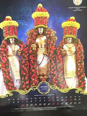 Tirupati Calendar 12 Prints South INDIA Vishnu Lakshmi Hindu God Goddess Vintage
