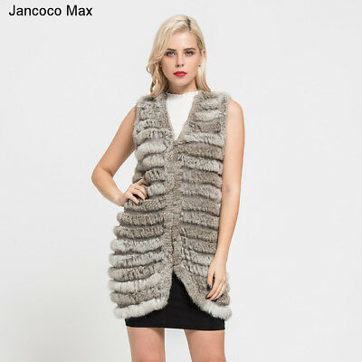 New Women Natural Knitted Real Rabbit Fur Long Vest Fashion Waistcoat Gilet67111