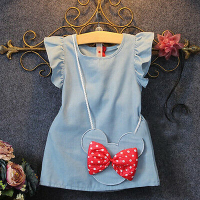 Kids Baby Girl Dress Minnie Mouse Demin Gown Formal Party Dresses Casual Clothes