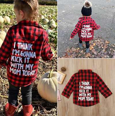 AU Stock Toddler Kids Baby Boy Girl Print Plaid Tops Long Sleeve T-shirt Clothes