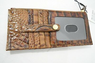 Brahmin Embossed Leather Credit Card Wallet/Credit Card Organizer Toasted Almond