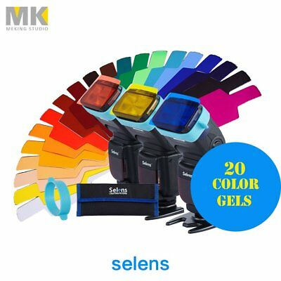 Selens FLash Speedlight 20 Color Gels Filter & 1 Band Grip For Canon Nikon