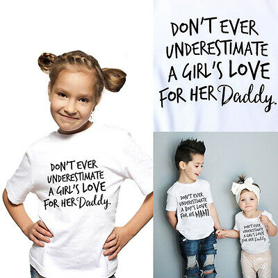 0-5Year Baby Kids Girls Cotton T-shirt Daddy Print Tee Tops Short Sleeve Blouse