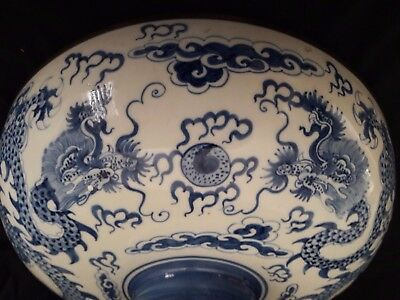 Large 19th C Chinese Blue & White Porcelain Bowl~Dragons And Clouds~Hand Painted