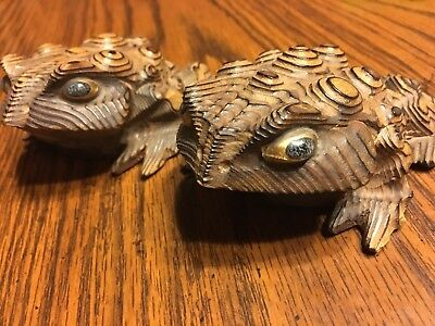 Warty Wooden Carved Toad Pair vintage original 1950s gold glass eyes brown tones