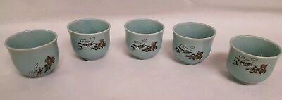Set of 5 light Blue Dip Sauce Tea Cups Japanese Chinese Bird Trees Art