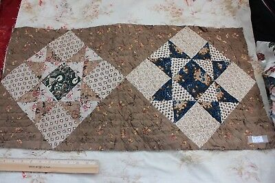 Antique Early American Printed Cottons Hand Quilted Quilt Fabric Piece c1830-40*