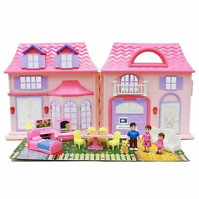 21Pcs Girls Pretend Play Doll House Toy Set With Furniture For Kids Playhouse