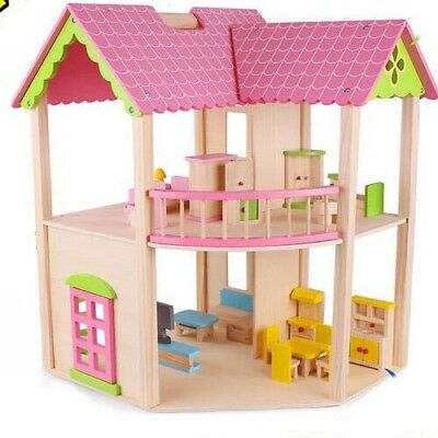 Wooden Toy Doll House Pink 2 Storey 2 Level Large Big Accessories Doll Furniture