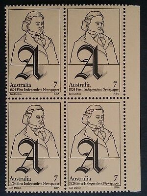 1974- Australia Blk of 4 X 7 c 1st Independent Newspaper stamps MUH with var