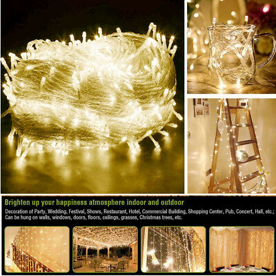 500LED 100M Warm White Fairy String Flashing Lights Wedding Party Christmas Tree