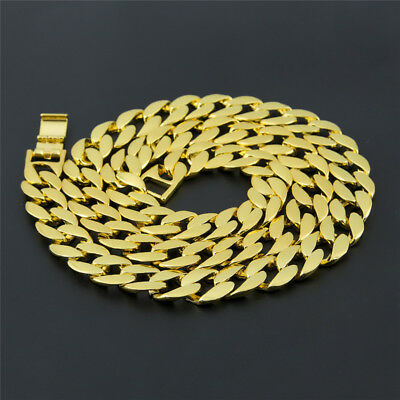 """18k Gold Plated Mens Iced Out 30"""" Miami Cuban Link Chain Hip Hop Bling Necklace"""