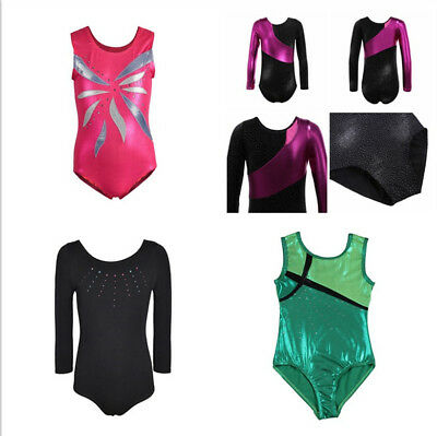 AU Kids Girls Gymnastics Leotards Bodysuits Skating Ballet Dancewear Costumes