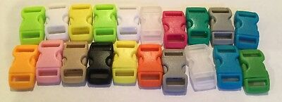 20pcs Colourful Plastic Buckles Curved Side Release Paracord Buckles 29mm X15mm