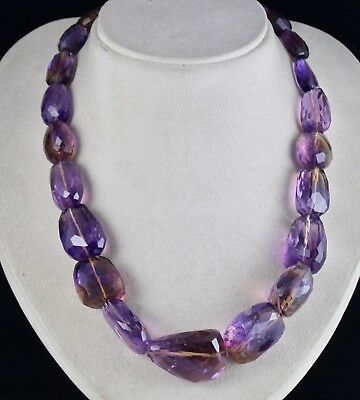 1088 Cts Natural Ametrine Facetted Tumble Beads Ladies Necklace With Silver Hook