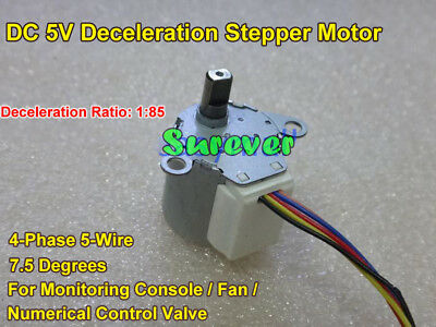 DC5V Deceleration Stepper Motor 4 Phase 5 Wire 7.5 Degree For Monitoring console