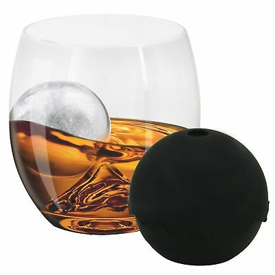Whiskey Tumbler Glass Set On The Rocks With Silicone Ice Ball Maker Xmas Gift