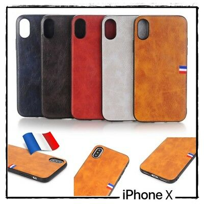 Etui coque housse Vintage Cuir PU Leather Coated Back case Cover iPhone X (10)
