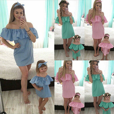 Fashion Family Matching Dress Mother And Daughter Girl Dress Off Shoulder Summer