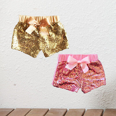 Toddler Kids Baby Girl Clothes Bow Party Shorts Bottoms Sequin Pants Summer 1-3T
