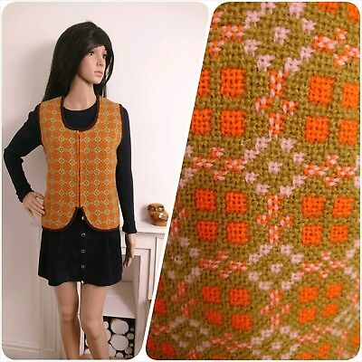 Vintage 60s Orange Welsh Tapestry Geo Zip Reseta Wool Waistcoat M 12 14 40