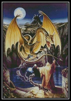 Wizard and Dragon - Cross Stitch Chart/Pattern/Design/XStitch