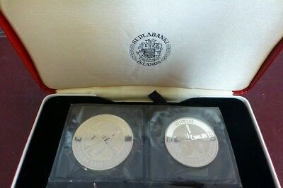 1974 Iceland Silver Proof 500 & 1000 Krónur Coin Set First Viking Settlers