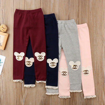 Kids Girls Cotton Clothes Bottoms Legging Pants Toddler Trousers Outfits 2-7Y