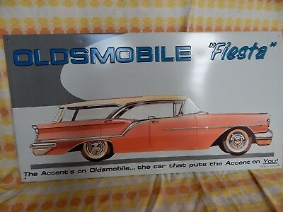 Oldsmobile 50's Fiesta Wagon Vintage Look Metal Advertising  Sign,older Issue.