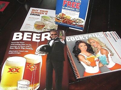 HOOTERS DRINK COCKTAILS MENU FIREBALL SHOTS + Dos Equis