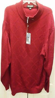 NWT Men's 5XL Stacy Adams Half Zip Pullover Sweater Burgundy